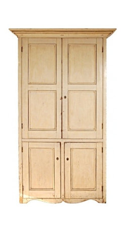 EcoFirstArt - 19thc Original Cream Painted Four Door Wall Cupboard From N.E. - Usher the lasting charm of New England's farmhouse design into your home with this exquisite wall cupboard. Boasting four doors and a number of interior shelves, this fixture also showcases crown molding and a scalloped skirt. Ideal for storing treasured tchotchkes, dishes, books, throw blankets and pillows, this timeless piece is a classic addition to the home and is as steadfast as the family dog.