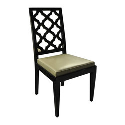 Sofia Lacquered Chair - Black - Hand carved solid wood side chair available in matte or high-gloss paint/lacquer color, or wood finish.