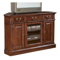 """Hekman - Weathers Cherry Corner Entertainment Console - Hekman Weathers Cherry Corner Entertainment Console; Weathered Cherry Finish; Offers plenty of storage space behind stylish wood and beveled glass doors and multiple drawers; Adjustable Shelves (2, - 1 behind each door) inside doors can accommodate electronic components; Tech-Ready"""" features include power outlet, wire management, two (2) DVD/CD trays, and docking station for MP3 players and other personal electronic devices.; Three drawers across the top; Dimensions: 48""""L x 22""""W x 32""""H; Outside Left/Right Cabinet Interior: 12""""W x 8.3""""L x 20.9""""H; One flipworks media shelf (adjustable) behind each door; Center Left/Right Cabinet Interior: 18.8""""W x 19.3""""D x 20.9""""H; Two glass shelve behind door"""