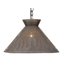 Irvin's Tinware - Roosevelt Shade Light with Willow in Blackened Tin - Add a rustic look to your country kitchen or dining area with this finely crafted light that reflects the fine craftsmanship and homespun styling of the past.