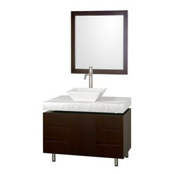 """Modern Bathroom - Malibu 36"""" Single Bathroom Vanity Set by Wyndham Collection - Espresso Finish wi - The Malibu 36"""" Single Bathroom Vanity Set in Espresso finish is one of the newest additions to the Wyndham Collection Designer Series by Christopher Grubb. It stands tall among contemporary bathroom vanities and demands the attention modern bathroom design evokes. This amazing single vanity comes complete with ample storage space and statement making counter. Its thick natural stone counter expand the glamour and modern design of this vanity, and will transform your bathroom into a contemporary masterpiece. Each counter is custom made with abundant natural stone facing in Ivory Marble, White Carrera Marble, Black Granite, or CaesarStone. This is a CG Collection original design, and is therefore only available in very limited numbers. Incredibly, this price is for the vanity, sink, mirror and FREE SHIPPING! Counters are pre-drilled for single-hole faucets. Please contact us for 3-hole faucets. Also available with multiple countertops, sizes, and options. Features Constructed of beautiful veneers over the highest grade MDF Cutting edge, unique styling by Interior Designer Christopher Grubb 8-stage painting and finishing process Floor-standing vanity Fully-extending under-mount soft-close drawer slides Deep doweled drawers Soft-close concealed doors hinges Single-hole faucet mount Faucets not included Brushed Steel finish legs and counter supports Stunning custom-ordered natural marble """"floating"""" 4"""" deep counter Includes choice of porcelain or optional granite vessel sink Includes matching mirror 1 door, 6 drawers How to handle your counter Spec Sheet for vanity Spec Sheet for Claire Rotating Wall Cabinet with mirror (WC-B802) Spec Sheet for Sarah Storage Cabinet (WC-B803) Spec Sheet for Accara Bathroom Wall Cabinet (WC-B805) Spec Sheet for Maria Bathroom Wall Cabinet (WC-B807) """" target=""""_blank"""" class=""""pdf"""">Installation Instructions -->Please note that all custom natura"""
