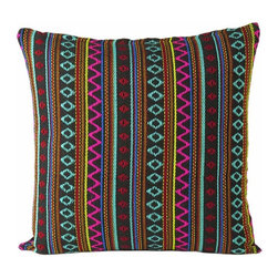 "Eyes of India - 16"" Black Bohemian Pillow Cushion Yoga Throw Cover - Beautifully ethnic double-sided Peruvian style pillow cushion cover. The striped pattern in vibrant shades and texture make for a stunning piece."