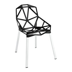 "LexMod - Connections Dining Chair in Black - Connections Dining Chair in Black - Between every two points, are numerous lines of communication. While the world seems to be getting ever bigger, it is our close association with friends and family that keeps our interactions small and personal. With its networked array of welded aluminum rods, the design results in a fantastic geometric array that conveys both energy and excitement. Supported by tubular chrome legs, with black plastic foot caps, Connections is perfect for dining at home, restaurants, hotels, and other social occasions. Set Includes: One - Connections Dining Chair Modern dining chair, Geometric aluminum rod design, For indoor or outdoor use, Black plastic foot caps, Tubular chrome legs, Easy assembly required Overall Product Dimensions: 23""L x 21.5""W x 32""HBACKrest Dimensions: 16.5""L x 13.5""H Seat Dimensions: 18""H - Mid Century Modern Furniture."
