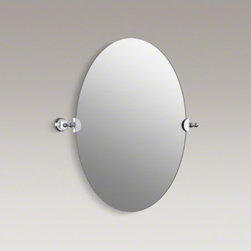 KOHLER - KOHLER Revival(R) oval mirror - Bring the essence of Art Deco to your bathroom with Revival accessories, which incorporate elliptical shapes and rolled edges inspired by classic 1920s design. At home in both traditional and contemporary bathrooms, this frameless oval mirror mounts secur