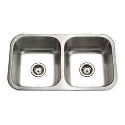 Houzer - Houzer Elite ED-3108-1 Double Basin Undermount Kitchen Sink - ED-3108-1 - Shop for Wall Mounted from Hayneedle.com! The stainless steel Houzer Elite ED-3108-1 Double Basin Undermount Kitchen Sink provides lasting beauty and value to your home for years to come.Additional InformationBowl depth: 8 inchesDrain hole size: 3.5 inchesDrain included: NoRounded corners make cleanup easyFits 36-inch sink baseStoneGuard undercoating over Super-Silencer padCompatible with a variety of Houzer accessoriesCutout template fasteners and instructions includedMeets ASME A112.19.3-2000 UPC standardsAbout HouzerFor over thirty years Houzer has improved millions of kitchens across American and around the globe one sink at a time. Their understanding of the kitchen as the heart and soul of any household has led to designs that bring comfort functionality and vibrant personality to your countertop! Every design theme is featured in their expansive catalogue and only the highest quality materials and artisanal craftsmanship goes into every detail of their line of luxury kitchen sinks to ensure lasting beauty and extraordinary value for years to come!