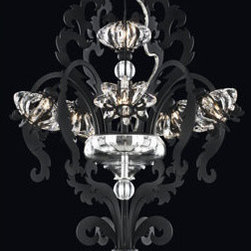 Schonbek - Brocade Black w/Texture Seven-Light Crystal Swarovski Elements Pendant, 17W x 31 - -Swarovski Elements: Swarovski Elements is the premium brand for finest crystal elements manufactured by Swarovski. Available in a myriad of colors, effects, shapes and sizes, these elements provide a fabulous palette of inspiration for designers in the lighting industry and interior design, as well as in the worlds of fashion, jewelry and accessories. Swarovski Elements have been designers? choice since 1895.  - With its minimalistic styling and organic motifs, Brocade recalls countless European coats-of-arms and flags from centuries past. Pods of Swarovski Elements crystals compose the inverted bobeches that envelope the light bulbs, creating intense sparkling effects for a great field of light. This bold new iron frame is complemented by a blown-glass bowl and matching canopy and will bring noble grandeur to any room.  -Crystal Swarovski Elements  - Wire Length (in inches): 124  - Light Source: Halogen  - Bulbs not included  - Chain Length (in inches): 40  - Uses standard line volt dimmer  - Some assembly required  - Lead free crystal  - For shipping outside of USA, please contact Bellacor customer service  - Cleaning and Care Instructions: Every Schonbek product is of heirloom quality and will last for generations. To ensure it retains its brilliance and splendor for years to come, proper care and regular cleaning are necessary. It is recommended that Schonbek products, and particularly their crystal trim, be lightly dusted with a feather or lambswool duster, or soft brush every two months, or whenever it appears dull or dusty. Consult the fixtures trim diagram for detailed cleaning instructions list of approved cleaning solutions. Schonbeck fixtures should never be subjected to any chemical cleaning agents. - See packaging insert for warranty information. Schonbek  - BR3855N-51S