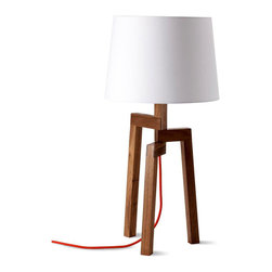 Blu Dot - Blu Dot Stilt Table Lamp, Walnut - Give this three-legged table lamp a standing ovation. Traditional woodworking techniques meet a modern sensibility to shed new light on your favorite setting.