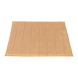 """Medium-Sized, Memory Foam Bath Mat in Linen - Linen Ultra Luxurious Memory Foam Bath Mat with non skid latex backing, size 17""""x24"""". Part of our Hotel Collection, this Medium-Sized (17'' w x 24'' l), Memory Foam Bath Mat is not only luxurious but also practical. Ultra soft memory foam on a slip-resistant base allows you to make a comfortable, safe transition from the bath to your floor. Additionally, this mat is very absorbent and dries up to 50% faster than other bath mats. Here in Linen, our Hotel Collection Memory Foam Bath Mats come in a variety of fashionable colors and a larger (21'' w x 34'' l) size. Machine wash in warm water, line dry, reshape as needed"""