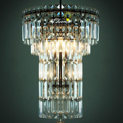 Industrial Romantic Crystal Chandelier in black Finish -