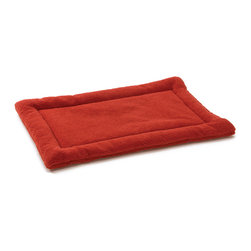 West Paw Design - Nature Nap dog kennel mat in Rust Red color option; Xsmall-Xlarge, Large - Perfect dreams start with the perfect bed! Made from soft and cozy fabric, Nature Nap® pet beds are where dreams begin. Unlike other dog mats on the market, Nature Nap's custom designed fabric has a poly-knit backing that interlocks the fibers to add strength and reduce shedding without sacrificing softness. Extra layer of padding is comprised of recycled IntelliLoft® fiber batting, which is carefully sewn inside to eliminate bunching and create a raised edge for added support and comfort. Machine Washable. Handcrafted in Montana.