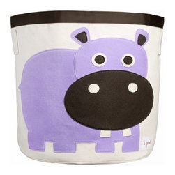 3 Sprouts - 3 Sprouts Storage Bin, Hippo - Help your kids clean up their acts with our cute hippo pattern animal storage bins in purple from 3 Sprouts . This bin is well sized for storing toys or as a laundry hamper. The bin collapses for easy storage when not in use. It is made up of 100% cotton canvas and coated on the inside for easy cleaning. It is the perfect gift for babies and toddlers.