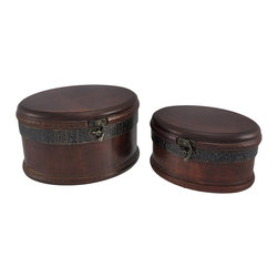 Zeckos - Set of 2 Decorative Wooden Oval Trinket Boxes - This pair of nesting wooden boxes is perfect for stashing small valuables or jewelry, while adding a decorative accent to tables or shelves. The smaller box measures 4 inches tall, 7 3/4 inches long, 5 1/2 inches wide, the larger box is 5 inches tall, 8 1/2 inches long, 7 inches wide. Both boxes are lined with velour, and have foam pads on the bottom to prevent them from scratching delicate surfaces. They are a wonderful addition to your home or office, and are sure to come in handy.