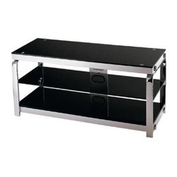 Lite Source - Enzo 3-Tier TV Stand in Silver Chrome w Black Glass - 2 Open shelves. 44 in. W x 17 in. D x 20 in. H (80.5 lbs.)