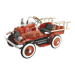 Dexton - Deluxe Fire Truck Pedal Riding Toy - DX-20233 - Shop for Tricycles and Riding Toys from Hayneedle.com! The Deluxe Fire Truck Pedal Car Riding Toy brings your child's active imagination to life. Every child loves to play pretend. The special dreamer in your life will love peddling this flaming red metal fire truck to an imaginary blaze in your neighborhood (or your living room). It's a dream come true for the little fire fighter in your life. His very own steerable fire engine! Recommended ages 3-6 years. Dimensions: 43L x 22W x 24H inches. The fire truck features fine detailing for an authentic look and feel. DING! DING! That's the sound of the authentic chrome bell. Getting towards dusk? No problem your little fire chief can switch on the working headlights. This fire truck is a great for kids. But it's a four-alarm funfest for adults. Help your little ones practice loading and unloading the real wooden ladders. Cheer them on as they rescue pets and stuffed animals from certain danger. Shout directions as they pedal from the station house to the parade. Or just sit back and enjoy as they immerse themselves in rich and imaginative play. Call Grandma and Grandpa. Good times and precious memories are peddling your way. About DextonDexton has been manufacturing distinguished high-quality children's musical instruments and ride-ons for over 10 years. Located in the Orange County area of Southern California its factories produce 50 of the most popular musical instruments to professional standards that music teachers prefer. Dexton also produces a wide assortment of battery-powered and pedal car ride-ons as well as children's furniture. Dexton uses the highest-quality wood leather and chrome-plated steel when manufacturing its safe kid-friendly products.