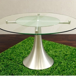 """Casabianca Furniture - Sussie Dining Table - The Sussie table is our most famous table for a kitchen. It has a lazy Susan insert with frosted tempered glass. Features: -Top glass is clear tempered with a frosted lazy Susan insert. -Chromed legs. -Brushed steel pedestal base. -For a kitchen use. -Overall dimensions: 30"""" H x 51"""" W x 51"""" D."""