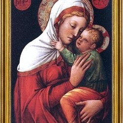 """Jacopo Bellini-16""""x24"""" Framed Canvas - 16"""" x 24"""" Jacopo Bellini Madonna with Child framed premium canvas print reproduced to meet museum quality standards. Our museum quality canvas prints are produced using high-precision print technology for a more accurate reproduction printed on high quality canvas with fade-resistant, archival inks. Our progressive business model allows us to offer works of art to you at the best wholesale pricing, significantly less than art gallery prices, affordable to all. This artwork is hand stretched onto wooden stretcher bars, then mounted into our 3"""" wide gold finish frame with black panel by one of our expert framers. Our framed canvas print comes with hardware, ready to hang on your wall.  We present a comprehensive collection of exceptional canvas art reproductions by Jacopo Bellini."""