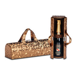 Picnic Plus - Copper Mosaic Carlotta Wine Clutch - Fashion meets function with this clever clutch that offers an on-trend way to tote a bottle of wine or champagne in style. Featuring a soft faux-suede interior with an elasticized pocket and two carry handles, this versatile handbag is a must-have for any BYOB occasion at a restaurant, friend's house or fun afternoon brunch.   Includes one clutch 14'' W x 4.5'' H Holds one wine bottle Polyurethane Imported