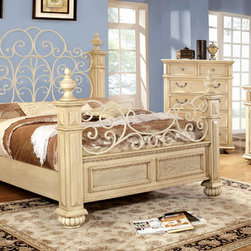 Furniture of America - Furniture of America Lucielle 4-piece Antique White Bedroom Set - Sophisticated and grand in every way,this four piece bed set features a prominent and regal four poster bed with an expansive arching headboard that showcases an open floral design to match the metal curving footboard.