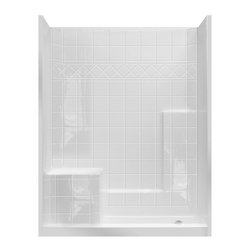 Laurel Mountain Showers - Colony White Gelcoat and Fiberglass Wall and Floor 3-Piece Alcove Shower Kit (Common: 32-in x 60-in; Actual: 77-in x 33-in x 60-in)