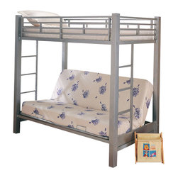 Coaster - Coaster Alicia Metal Twin over Futon Bunk Bed in Silver Finish - Coaster - Bunk Beds - 7399 - Coaster brings innovative furniture at competitive prices to your home.The stylish Alicia bunk bed from Coaster is a great space saver for your kids' bedroom. The futon creates an attractive seating area for your child and converts into a twin size bed that is perfect for a sleepover.Features: