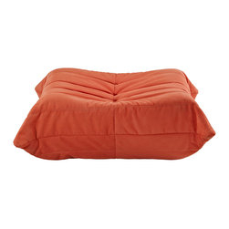 """LexMod - Waverunner Ottoman in Orange - Waverunner Ottoman in Orange - Provide natural comfort at every gathering with a balanced set of functional symmetry. Observe as Waverunner interplays ergonomics with dense foam cushioning to precisely reflect full relaxation. Wander through the pathways of elucidation with a multi-layered environment of intricate folds and holistic positioning. Set Includes: One - Waverunner Modular Ottoman Perfect for living room or lounge, Covered in easy-care microfiber, Ground level Density foam, Sold as a set or individually Overall Product Dimensions: 26""""L x 31""""W x 13""""H - Mid Century Modern Furniture."""
