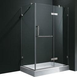 Vigo - Vigo 32 x 48 Frameless 3/8in.  Clear/Chrome Shower Enclosure with Right Base - Update your bathroom with this uniquely stylish and totally frameless Vigo rectangular-shaped shower enclosure