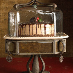 "GG Collection - GG Collection ""Versailles"" Cake Dome & Pedestal - Pretty raised scrolls and antiqued metal accents give this cake pedestal with glass dome a timeless presence. Removable ceramic plate is latte in color. From the GG Collection. 14.5""Sq. x 19.5""T."
