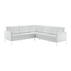 Modway Imports - Modway EEI-254-WHI Loft L-Shaped Leather Sectional Sofa In White - Modway EEI-254-WHI Loft L-Shaped Leather Sectional Sofa In White