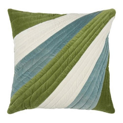 "Rizzy Home - T-3772 18"" Decorative Pillow in Green (Set of 2) - Distinctive and elegant, these decorative accent pillows are versatile enough to be used in any room of the home. Rich hues and textural accents will allow you to add your signature touch and create your own style. Features: -Color: Green. -Material: Velvet. -100% Siliconized polyester fiber filler. -Zippered pillow cover with poly fill insert. -Dry clean only."