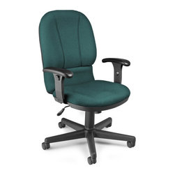 "OFM - OFM Exec Task Chair in Teal - OFM - Office Chairs - 640240 - Be posture-perfect with OFM's Posture Series Task Chair Model 640. This chair offers classic style and modern support with the black plastic molded seat pan and backrest and high-density foam seat and back. Users easily find their perfect position with the tilt lock swivel mechanism gas lift seat height adjustment and 7-position adjustable height arms. Arms are also soft-padded for extra support and comfort. Seat and back are upholstered in stain-resistant 30000 double-rub Viva fabric that will keep its good looks longer. Wheel anywhere with the stable 27"" 5-star base. Weight capacity is 250 lbs."