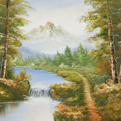 overstockArt.com - Journey - Journey is an epic interpretation of a majestic forest. Imagine having walking along this river, with snow capped mountains in your horizon. Enjoy that memorable feeling everyday with this hand painted creation of nature at it's best.