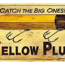 Red Horse Signs - Vintage Signs Moore's Plug   Large - This  fishing  lure  ad  for  Moore's  Yellow  Plug  can  carry  your  favorite  fisherman's  name  to  create  a  special  gift  for  lake  house  fishing  cabin  or  beach  home.  Printed  directly  to  distressed  wood  this  sign  offers  a  rustic  appeal  that  fits  perfectly  with  your  vacation  location.  Measures  14x42  inches.