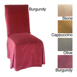 None - Microsuede Parsons Chair Slipcover (Set of 2) - Bring classic style and elegance to your decor with a beautiful Parsons chair slipcover. Inject a little color into your home environment with the soft rich tones of these microsuede slipcovers that provide the perfect way to accent your furnishings.