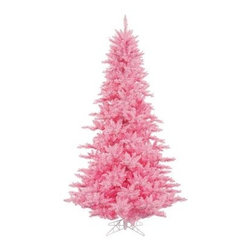 Vickerman Pink Fir Pre-lit Christmas Tree - The Vickerman Pink Fir Pre-lit Christmas Tree is a crisp pink fir tree that boasts a variety of features to make your holiday special. The tree features PVC tips with hinged branch construction, as well as an on/off foot pedal switch for your convenience.Specifications for 12-foot tree Shape: Medium Base Width: 82 inches Number of Bulbs: 1650 Number of Tips: 4631Specifications for 10-foot tree Shape: Medium Base Width: 68 inches Number of Bulbs: 1150 Number of Tips: 2980Specifications for 9-foot tree Shape: Medium Base Width: 64 inches Number of Bulbs: 1000 Number of Tips: 2326Specifications for 7.5-foot tree Shape: Medium Base Width: 52 inches Number of Bulbs: 750 Number of Tips: 1634Specifications for 6.5-foot tree Shape: Medium Base Width: 46 inches Number of Bulbs: 600 Number of Tips: 1216Specifications for 5.5-foot tree Shape: Medium Base Width: 34 inches Number of Bulbs: 400 Number of Tips: 794Specifications for 4.5-foot tree Shape: Medium Base Width: 34 inches Number of Bulbs: 250 Number of Tips: 525 Specifications for 3-foot tree Shape: Medium Base Width: 25 inches Number of Bulbs: 100 Number of Tips: 234Don't Forget to Fluff!Simply start at the top and work in a spiral motion down the tree. For best results, you'll want to start from the inside and work out, making sure to touch every branch, positioning them up and down in a variety of ways, checking for any open spaces as you go.As you work your way down, the spiral motion will ensure that you won't have any gaps. And by touching every branch you'll create the desired full, natural look.About VickermanThis product is proudly made by Vickerman a leader in high quality holiday decor. Founded in 1940, the Vickerman Company has established itself as an innovative company dedicated to exceeding the expectations of their customers. With a wide variety of remarkably realistic looking foliage, greenery and beautiful trees, Vickerman is a name you can trust for helping y