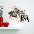My Wonderful Walls - Fish in Geometrics Wall Sticker Decal Cut Out by Florent Bodart, Large - - Product: decal of goldfish in geometric cube