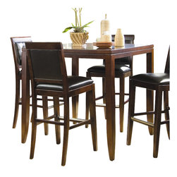 "American Drew - American Drew Tribecca Square/Rectangular Wood Top Bar Table in Root Beer Finish - American Drew - Dining Tables - 912707 - The American Drew Tribecca Bar Table is a fantastic addition to any room, whether it is for gaming or dining. Featuring a square, wood table top, the additional 20"" extension leaf, allows the table to open up to its full 62"" or, it may keep its initial 42"" width and depth. Modern by all accounts, the table is available in a brushed root beer finish. Standing slightly higher than its Counter Height Table counterpart, the Bar Table also comes ready to assemble."