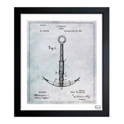 "The Oliver Gal Artist Co. - 'Anchor 1887 '  Framed Wall Art 10"" x 12"" - Nautical decor can turn preppy before you know it. Keep the look authentic and grounded with a framed vintage drawing of an anchor. This limited edition piece come ready to hang with all its hardware. It's perfect for any sea lover."