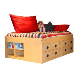 Berg Furniture - Berg Furniture Sierra Full Size Low Jr. Captain's Bed - Berg Furniture - Beds - 22959XX - Berg Sierra Jr Captain's Bed with Low Frame and Storage Drawers.