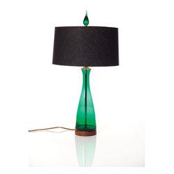Blenko Emerald Carafe Table Lamp - Blenko Emerald Carafe Table Lamp with striking black linen shade.