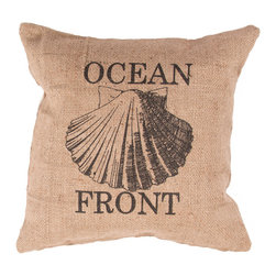 Jaipur Rugs - Handmade Jute Taupe/Tan/Black (20''x20'') Pillow - Rustique pillows and poufs are burlap printed with coastal accents.