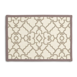 Warm Gray Scroll Trellis Tailored Placemat Set - Class up your table's act with a set of Tailored Placemats finished with a contemporary contrast border. So pretty you'll want to leave them out well beyond dinner time! We love it in this chic morrocan style trellis with intricate outlined scrolls of warm gray on ivory cotton.