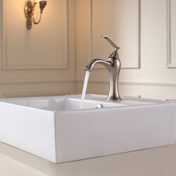"Kraus - Kraus C-KCV-150-15001BN Brushed Nickel White Ceramic 18-3/5"" Ceramic - Combo Includes:White ceramic vessel sinkSolid brass faucetPop-up drain (matches faucet finish)Sink Features:Fully covered under Kraus  limited lifetime warrantyConstructed of the finest grade vitreous chinaNon-porous glossy, baked on finish is highly durable and scratch resistantHandmade by skilled artisansAdd an elegant touch to your bathroom with a Kraus ceramic wash basinThis bathroom sink will enhance any home improvement remodelDesigned for above-the-counter installationStandard 1-3/4"" drain opening - designed to easily connect to waste lines, including P-trapsExtra secure mounting assemblyAll necessary mounting hardware includedCertifications and Listings Include: UPC, cUPC, CSA, IAPMO, ANSI and SCCFaucet Features:Fully covered under Kraus  limited lifetime warrantyAll-brass faucet constructionHigh-quality, corrosion and rust resistant triple-plated finish - finish covered under lifetime warrantySingle handle operationADA compliantLow lead compliant - complies with federal and state regulations for lead contentDesigned to easily connect to standard U.S. plumbing supply bibsExtra secure mounting assemblyAll necessary mounting hardware includedCertifications and listings include: UPC, cUPC, CSA, IAPMO, ANSI and SCCSink Technologies and Benefits:The Vessel Advantage: Beyond uniqueness and their distinctive modern design, vessel sinks also present a couple of functional advantages. Because the sink is raised off the countertop, overall bathroom clutter presents less of an issue as items are merely level with or below the sink rim, not towering over it and in the way of your arms. Furthermore, bowl-shap"