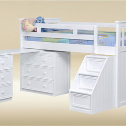 Bunkbed - This Good Trading Low Loft Bed is perfect bed for a small room.  The Junior Low Loft Bed by Good Trading comes complete with a dresser / desk that stows away nicely below the bed.  The desk swings out to provide an excellent place for your child to study.  Even the step ladder has hidden drawers to provide additional storage options.