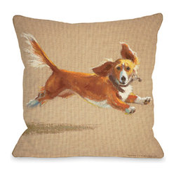 """Graviss Studios - Throw Pillow- Mighty Mutt - This energetic pup on an 18"""" square pillow is printed from an original pastel painting created by artist Debbie Graviss. Includes a hidden zipper."""