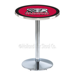 Holland Bar Stool - Holland Bar Stool L214 - Chrome Alabama Pub Table - L214 - Chrome Alabama Pub Table belongs to College Collection by Holland Bar Stool Made for the ultimate sports fan, impress your buddies with this knockout from Holland Bar Stool. This L214 Alabama table with round base provides a commercial quality piece to for your Man Cave. You can't find a higher quality logo table on the market. The plating grade steel used to build the frame ensures it will withstand the abuse of the rowdiest of friends for years to come. The structure is triple chrome plated to ensure a rich, sleek, long lasting finish. If you're finishing your bar or game room, do it right with a table from Holland Bar Stool. Pub Table (1)