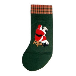 Patch Magic - Santa By The Fireside Stocking - 8 in. W x 21 in. L. 100% Cotton. Machine washable.. Line or flat dry onlyGorgeous and unique hand quilted Christmas stocking.