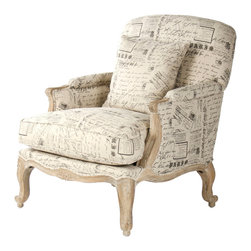 French Country Literary Script Linen Club Chair - Attention book lovers and Francophiles - the perfect city club chair has arrived. Upholstered in a unique French literary and newsprint linen, this beauty is urbane, witty and delightfully entertaining - the perfect addition to your book club! Fabric available for sale by the yard as well. Please contact us for details