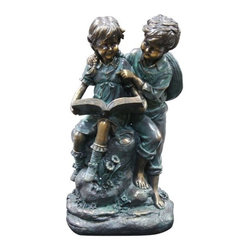 Alpine - Girl and Boy Reading Together Statue - Features: