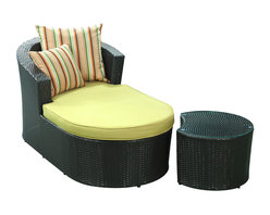 LexMod - Camouflage Outdoor Wicker Patio Chaise Lounge 2 Piece Set - Recline tranquilly as you conceal your position amid the great outdoors. Divest outer appearances and reveal a proper perspective on all things far and near. Let the hidden be revealed as you evince confidence with the Camouflage Chaise Lounge and Coffee Table.