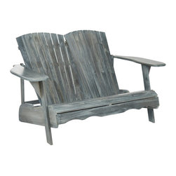 Safavieh - Hantom Adirondack Bench - PAT6702A - Shop for Benches from Hayneedle.com! The Hantom Adirondack Bench is just right for sitting out on the porch with a companion and watching the world go by. Both designed in and named for the recreational mountains in New York Adirondack chairs have a low angled seat with high wide armrests that are perfect for sinking into and relaxing. And the Hantom Adirondack Bench doubles this structure to give you and another lounger individual seats each with a contoured back and front. Whereas the original design for this style of chair was constructed with hemlock wood this version boasts attractive and sustainable acacia wood that is as environmentally conscientious as the beautiful natural setting and crisp mountain air that inspired the style. Available either in an Ash Gray or natural light wood finish or in a white paint this bench easily compliments any porch or yard.About SafaviehConsidered the authority on fine quality craftsmanship and style since their inception in 1914 Safavieh is most successful in the home furnishings industry thanks to their talent for combining high tech with high touch. For four generations the family behind the Safavieh brand has dedicated its talents and resources to providing uncompromising quality. They hold the durability beauty and artistry of their handmade rugs well-crafted furniture and decorative accents in the highest regard. That's why they focus their efforts on developing the highest quality products to suit the broadest range of budgets. Their mission is perpetuate the interior furnishings craft and lead with innovation while preserving centuries-old traditions in categories from antique reproductions to fashion-forward contemporary trends.